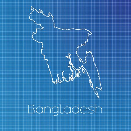 schematic: A Schematic outline of the country of Bangladesh Stock Photo
