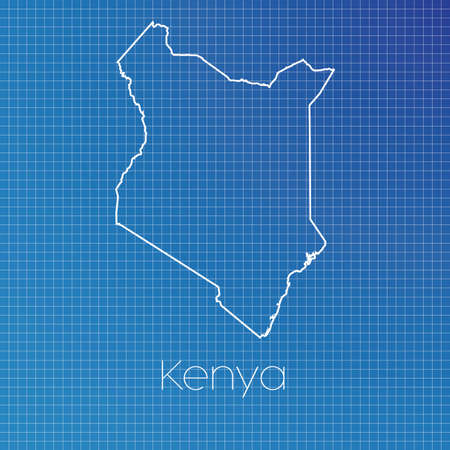 schematic: A Schematic outline of the country of Kenya Stock Photo