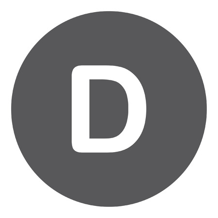 d: A White Icon Isolated on a Grey Background - D