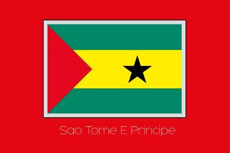 principe: Una ilustraci�n de la bandera sobre un fondo rojo del pa�s de Santo Tom� y Pr�ncipe