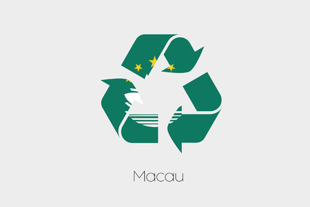 macau: A Flag Illustration inside a Recycling Icon of the country of Macau