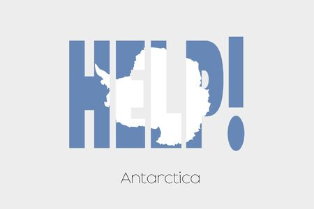 antartica: A Flag Illustration inside the word Help of the country of Antartica Stock Photo