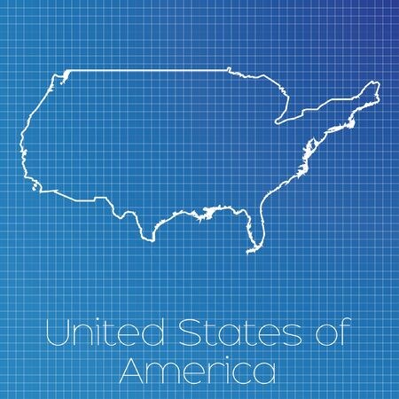 schematic: A Schematic outline of the country of United States of America