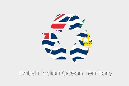 indian ocean: A Flag Illustration inside a Recycling Icon of the country of British Indian Ocean Territory Stock Photo
