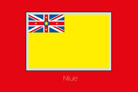 niue: A Flag Illustration on a Red Background of the country of Niue