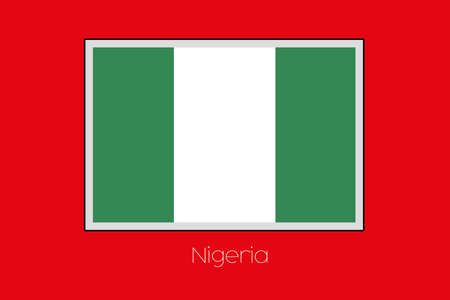 country nigeria: A Flag Illustration on a Red Background of the country of Nigeria Stock Photo