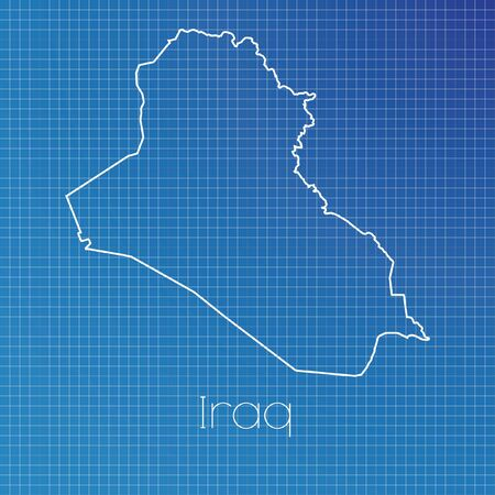 schematic: A Schematic outline of the country of Iraq Stock Photo