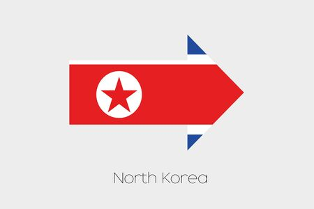 north arrow: A Flag Illustration inside an arrow of the country of North Korea