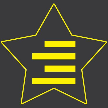align: A Yellow Icon Isolated on a Grey Background inside a star - Right Align Stock Photo