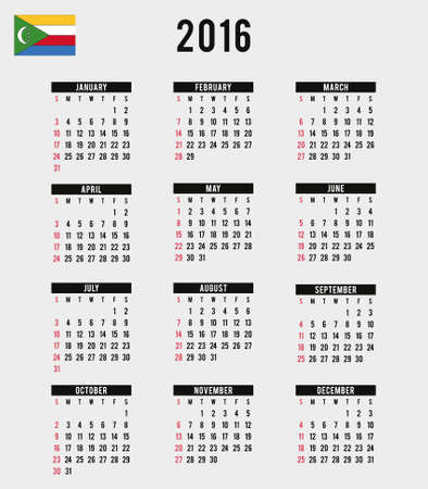 comoros: A 2016 Calendar with the Flag of Comoros