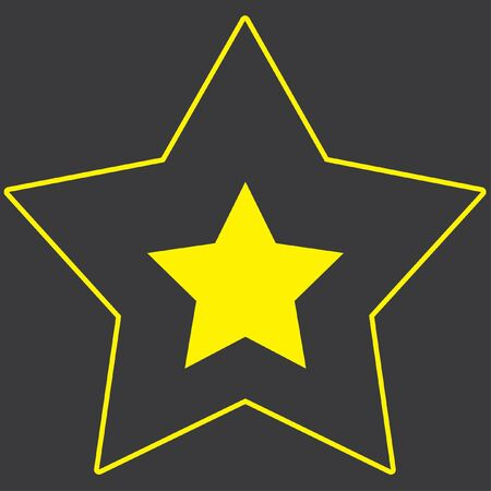 pointed to: A Yellow Icon Isolated on a Grey Background inside a star - 5 Pointed Star Stock Photo
