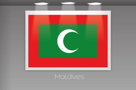 A Flag Isolated on Gallery Wall of Maldives