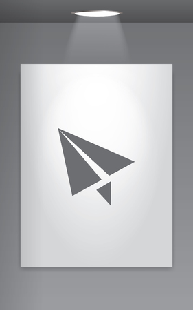 wall paper: A Grey Icon Isolated on Gallery Wall - Paper Plane