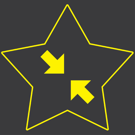 pinch: A Yellow Icon Isolated on a Grey Background inside a star - Pinch