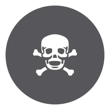 cross bones: A White Icon Isolated on a Grey Background - Skull and Cross Bones