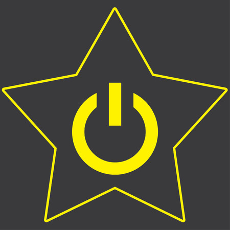 star power: A Yellow Icon Isolated on a Grey Background inside a star - Power