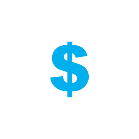 dollar icon: A Blue Icon Isolated on a White Background - Dollar Sign Stock Photo
