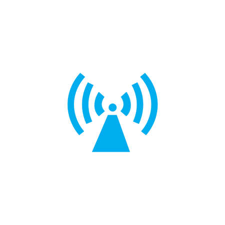 radio tower: A Blue Icon Isolated on a White Background - Radio Tower