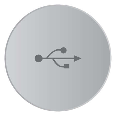serial: A Grey Icon Isolated on a Button with Grey Background - USB Universal Serial Bus