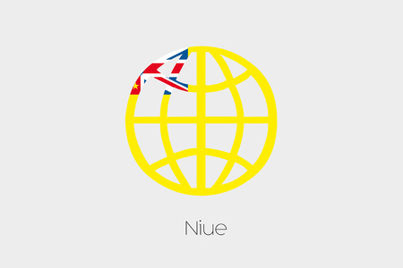 niue: A Flag Illustration inside a world icon of Niue