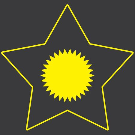 spikey: A Yellow Icon Isolated on a Grey Background inside a star - Spikey Circle