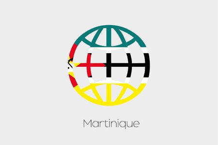 mozambique: A Flag Illustration inside a world icon of Mozambique