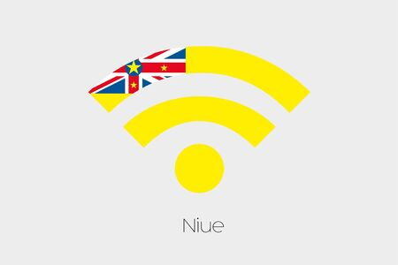 niue: A Flag Illustration inside a Networking Icon of the country of Niue