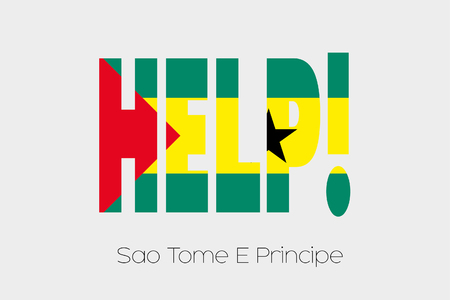 principe: A Flag Illustration inside the word Help of the country of Sao Tome E Principe