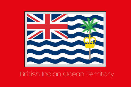 indian ocean: A Flag Illustration on a Red Background of the country of British Indian Ocean Territory Stock Photo