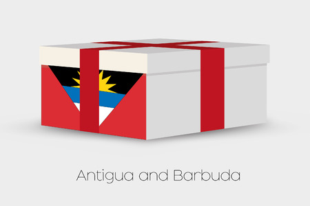 antigua: A Gift Box with the flag of Antigua and Barbuda