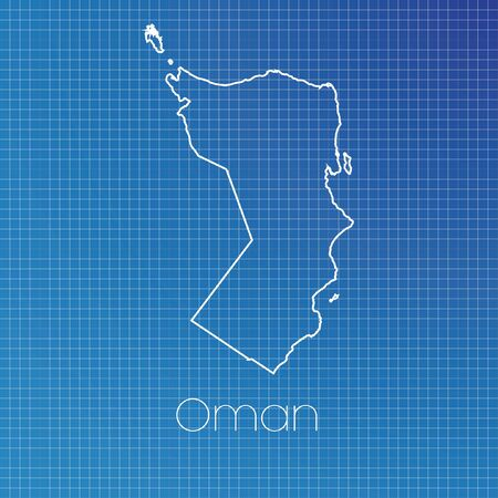schematic: A Schematic outline of the country of Oman Stock Photo