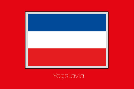 yugoslavia: A Flag Illustration on a Red Background of the country of Yugoslavia