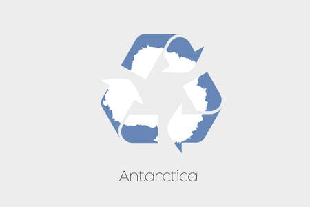 antartica: A Flag Illustration inside a Recycling Icon of the country of Antartica