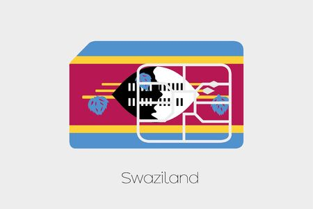 swaziland: A SIM Card Flag Illustration of the country of Swaziland Stock Photo