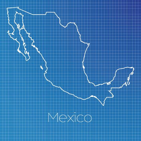 schematic: A Schematic outline of the country of Mexico Stock Photo