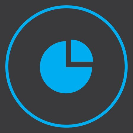exploded: A Blue Icon Isolated on a Grey Background inside a circle - Pie Chart Exploded