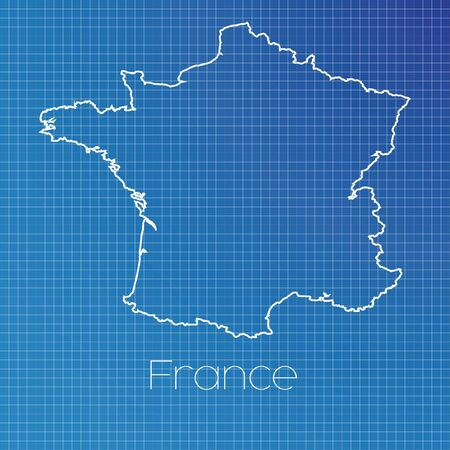 A Schematic outline of the country of France Stock Photo