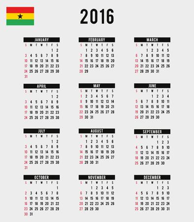 agenda year planner: A 2016 Calendar with the Flag of Ghana