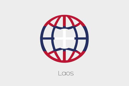 laos: A Flag Illustration inside a world icon of Laos