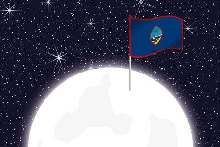 guam: A Moon Illustration with the Flag of Guam