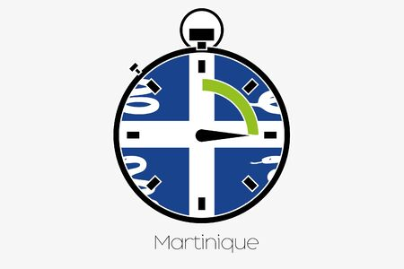 martinique: A Stopwatch with the flag of Martinique Stock Photo
