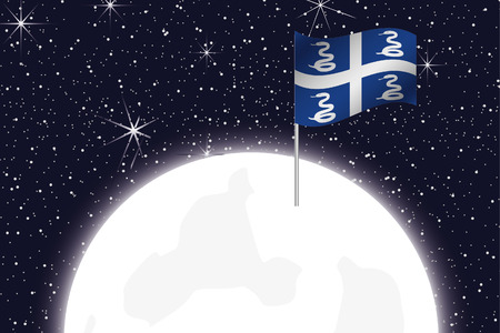 martinique: A Moon Illustration with the Flag of Martinique Stock Photo