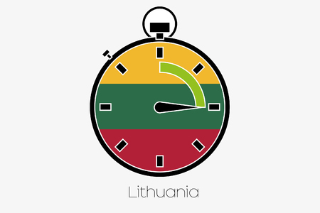 lithuania: A Stopwatch with the flag of Lithuania Stock Photo