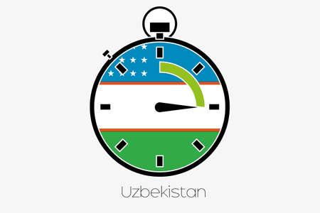 uzbekistan: A Stopwatch with the flag of Uzbekistan