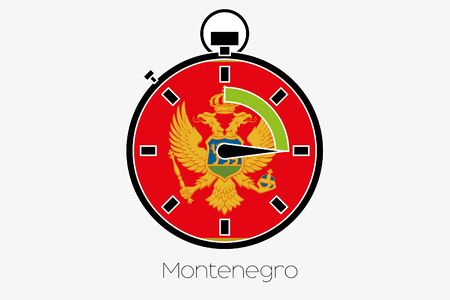 A Stopwatch with the flag of Montenegro