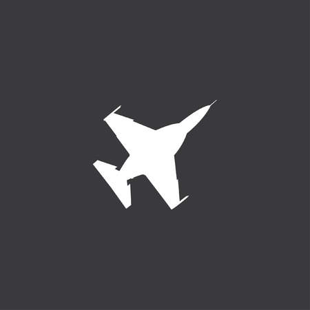fighter jet: A white Icon Isolated on a Grey Background - Fighter Jet Stock Photo