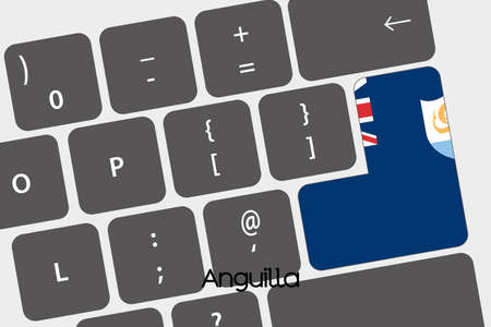 anguilla: A Illustration of a Keyboard with the Enter button being the Flag of  Anguilla