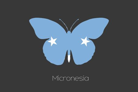micronesia: A Butterfly with the flag of Micronesia