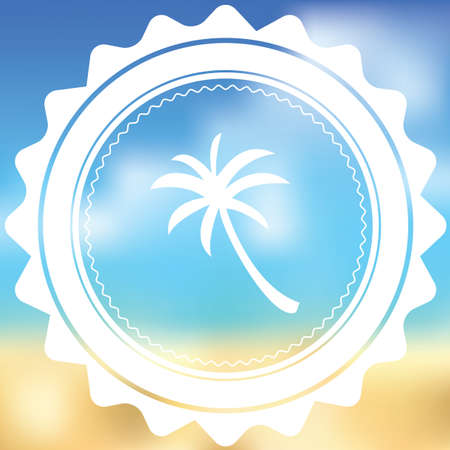 palmtree: A White Icon Isolated on a Blurred Background - Palmtree