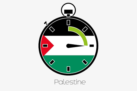 palestine: A Stopwatch with the flag of Palestine